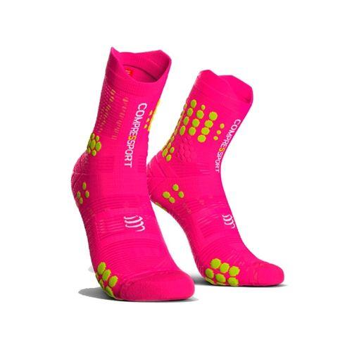Medias-compresion-Compressport-Racing-Sock-V3----Unisex---Trail-Running-Fluo-Pink-Talle-3--42-44-ARG
