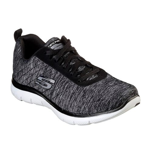 b34157a00bc49 Zapatillas Running Skechers Flex Appeal 2.0 Mujer Black White 12753 ...