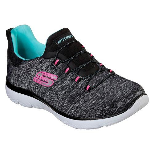 Zapatillas-Skechers-Summits-Quick-Getaway-Running-Mujer-Black-Light-Blue-12983-BKLB