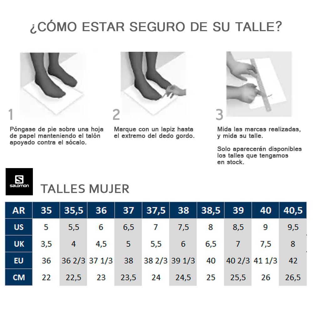 tabla tallas zapatillas salomon urbanas womens